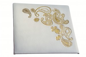Leather wedding photo album road with gold lettering