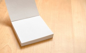 Blank white notepad on wooden table,Template mock up for adding