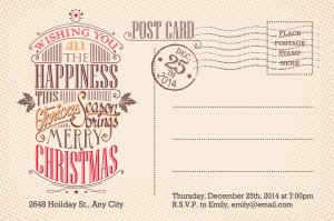 Vintage merry Christmas holiday postcard