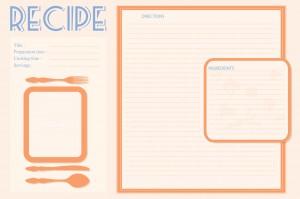 Vector retro recipe card layout