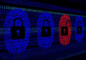 Cybersecurity concept - Open and closed locks with digital fingerprints from hacker
